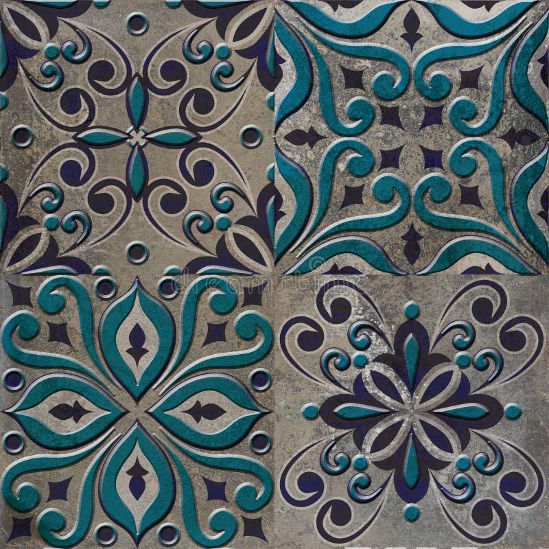 Schöne blaue Weinlesemuster-Mosaikfliese stockfotografie