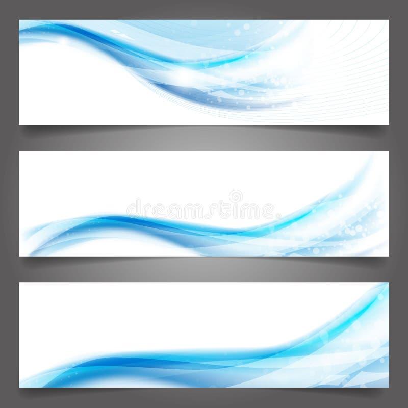 Schöne blaue Welle der abstrakten Vektorgeschäftshintergrund-Fahne vektor abbildung