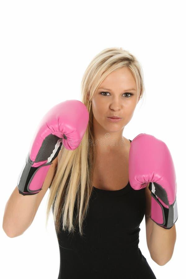 Schöne blonde Dame Boxer lizenzfreie stockfotos
