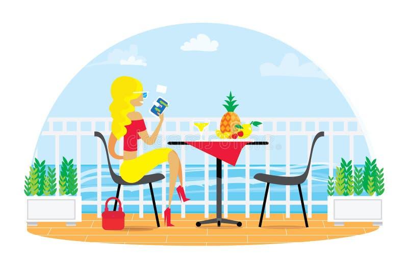 Schöne blonde Frau Stühle und Tabelle auf dem Terrassenbalkon Restaurant-Ansicht über das Meer Wässern Sie Landscape abendessen stock abbildung