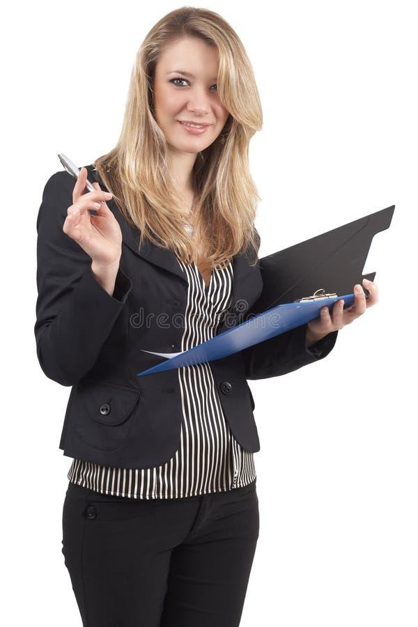 Schöne blonde Geschäftsfrau lizenzfreies stockfoto