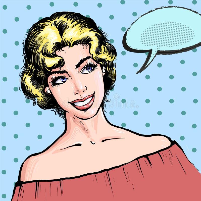 Schöne blonde junge lächelnde Frau, Art-Vektorillustration der Pop-Art Retro- komische eines gil mit Spracheblase auf einem Punkt vektor abbildung