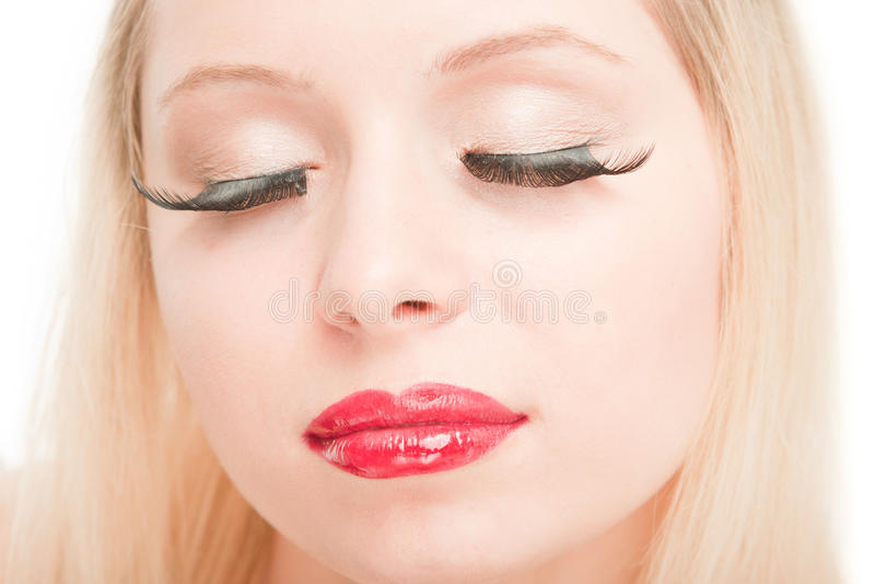 schöne blonde mit verlängern Wimpern stockbilder