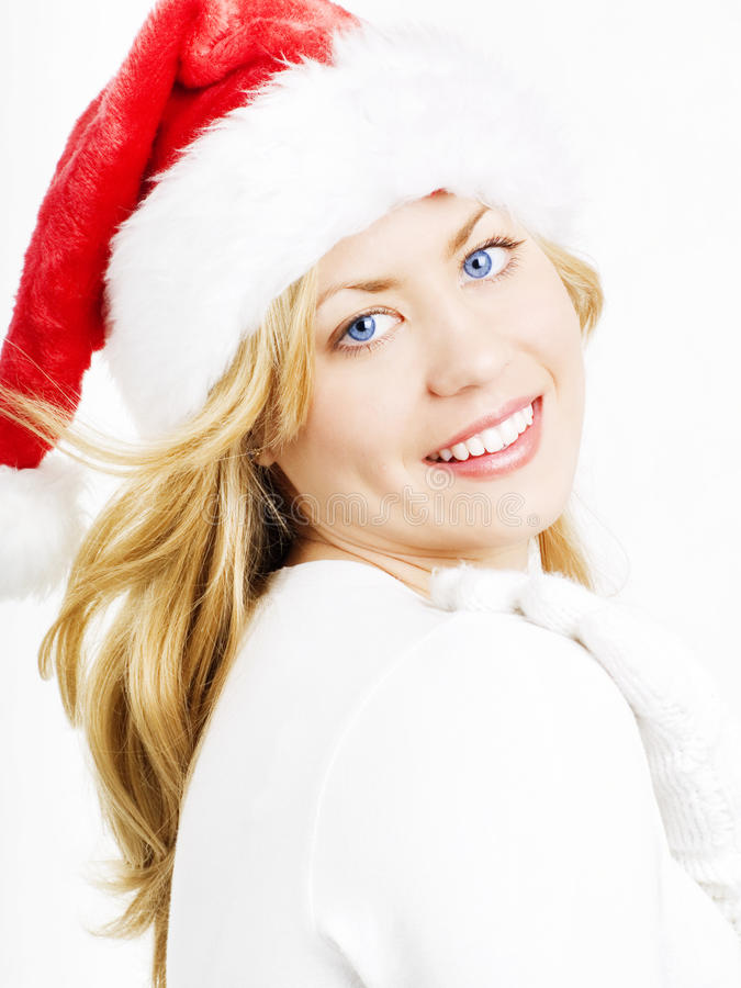 Schöne blonde Weihnachtsfrau lizenzfreies stockbild