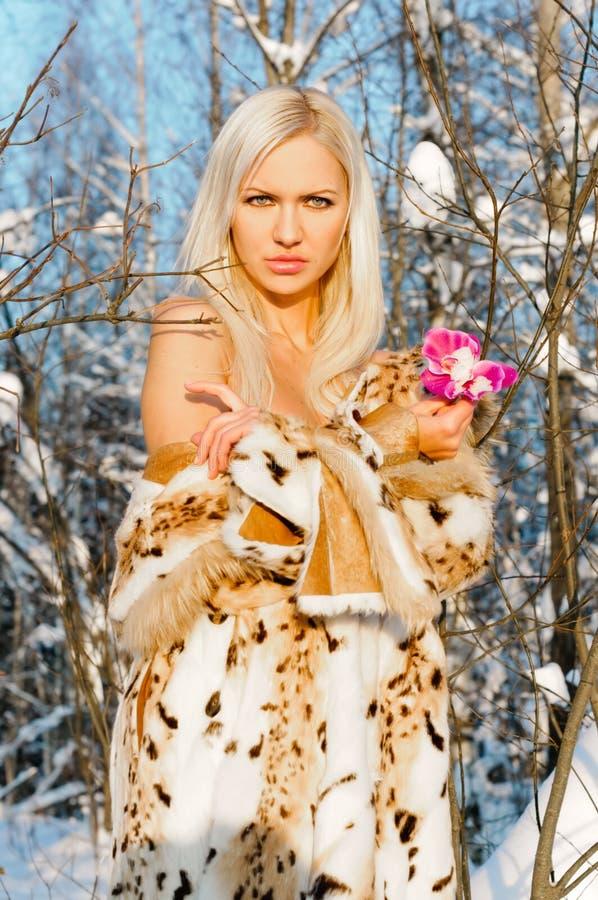 Schöne Blondine im Winterwald lizenzfreies stockbild
