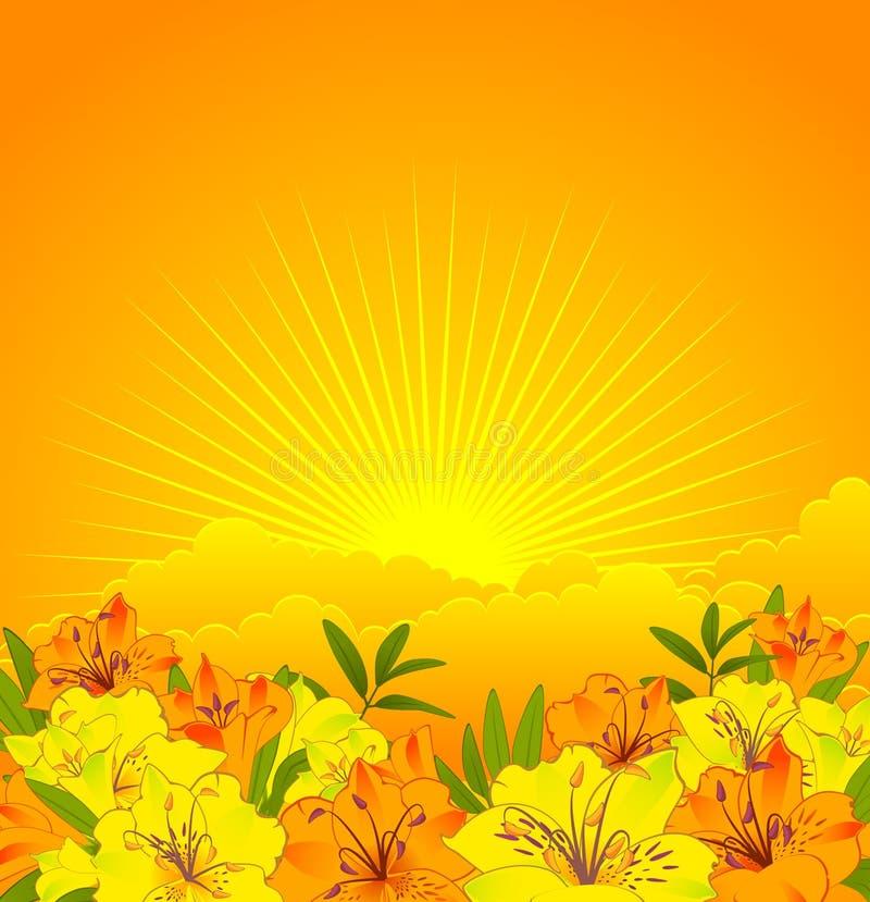 Schöne Blumen auf einem Hintergrundhimmel stock abbildung