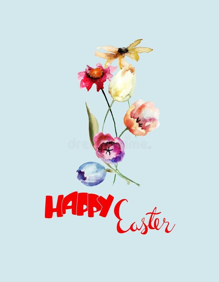 Schöne Blumen mit Titel fröhliche Ostern stockfotos