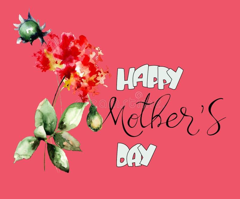 Schöne Blumen mit Titel glücklichem Muttertag stockfoto