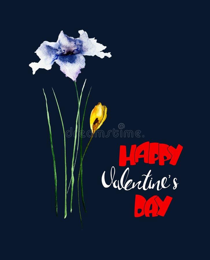Schöne Blumen mit Titel glücklichem Valentinsgrußtag lizenzfreies stockfoto
