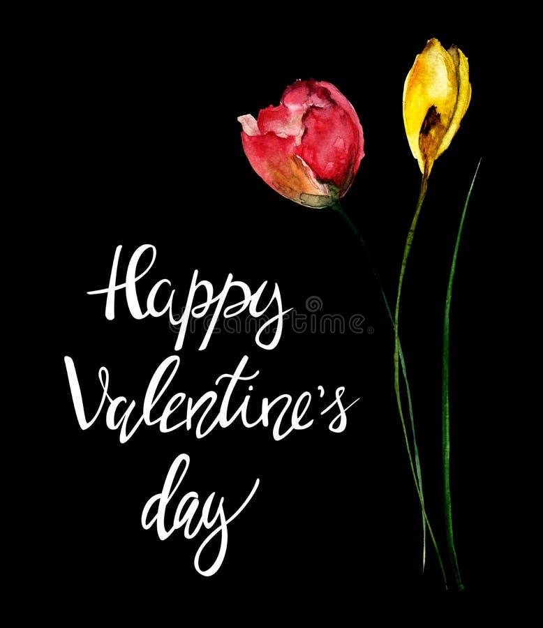 Schöne Blumen mit Titel glücklichem Valentinsgrußtag stockbilder