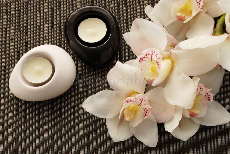 Schöne Blumen mit yin Yang-Kerzenhalter stockfotografie