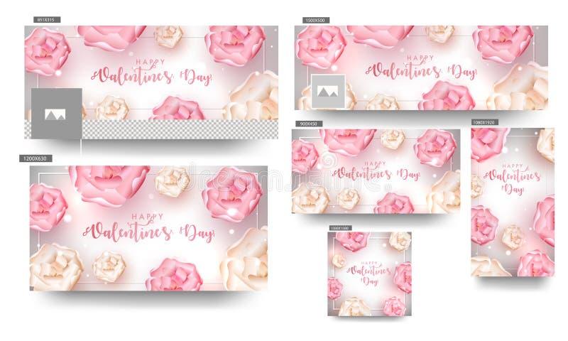 Schöne Blumen verzierten Titel- und Fahnensatz lizenzfreie abbildung