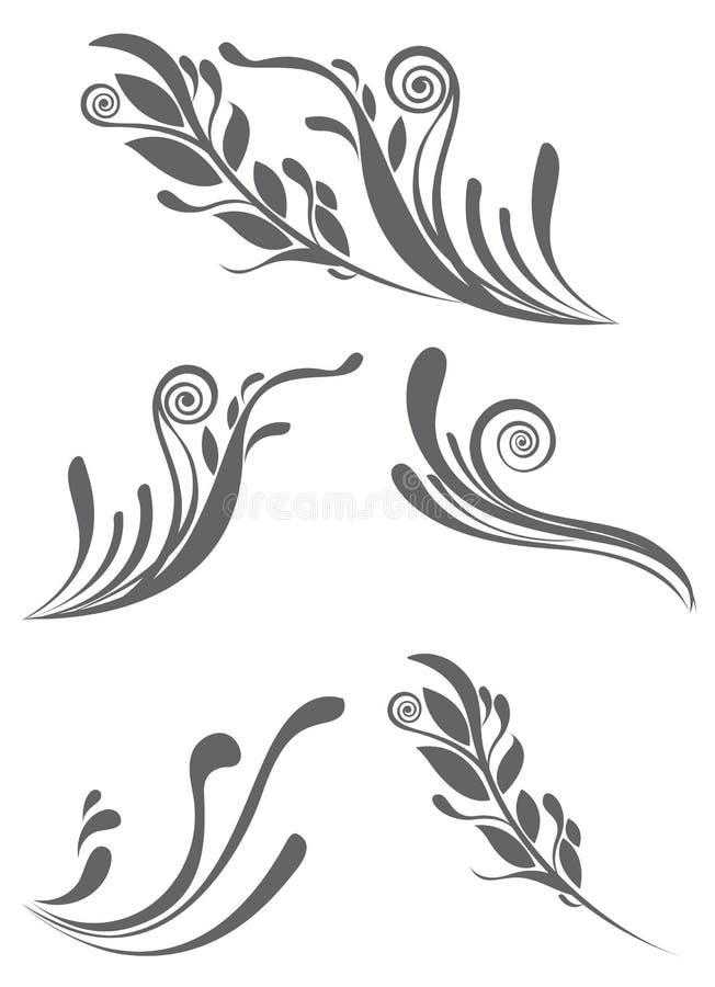 Schöne Blumenverzierungelemente stock abbildung
