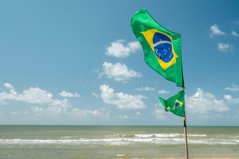 Schöne brasilianische Nationalflagge in einem blauen Himmelstag lizenzfreie stockbilder