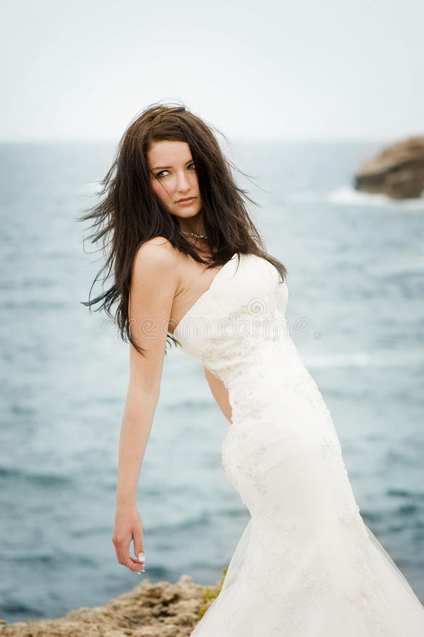 Schöne Braut auf der Küste stockbild