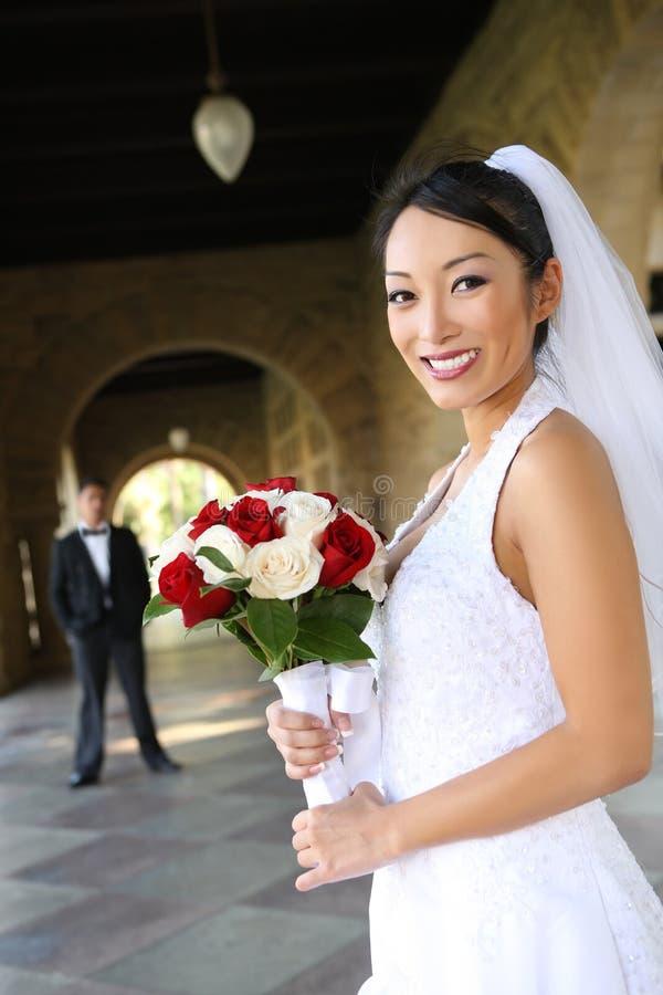 Schöne Braut an der Hochzeit stockbild