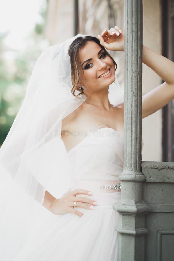Schöne Braut, die draußen im Hochzeitskleid aufwirft lizenzfreies stockbild