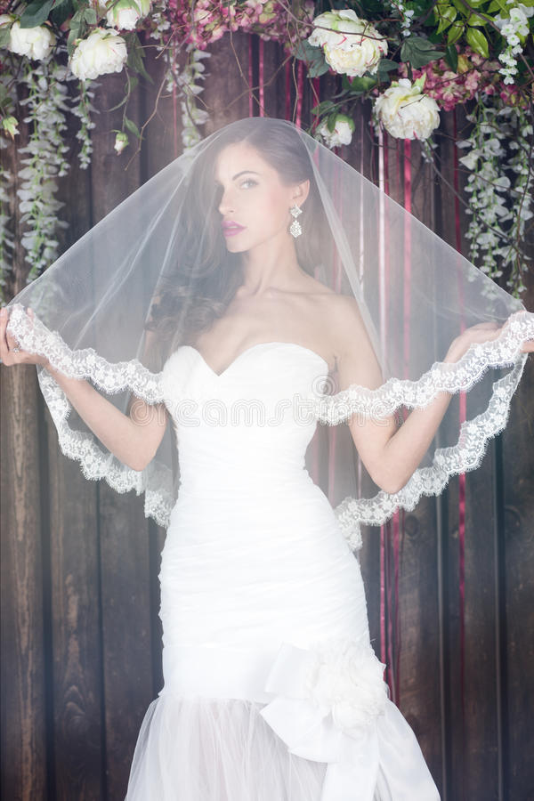 Schöne Braut in einem Hochzeitskleid mit bloßen Schultern und Schleier lizenzfreie stockfotos