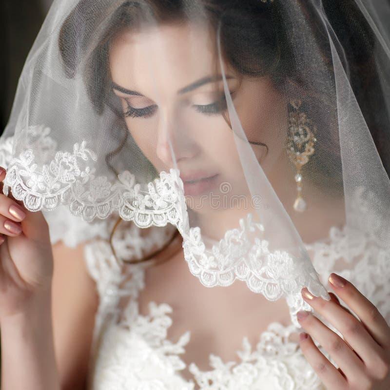 Schöne Braut in ihrem Hochzeits-Kleid lizenzfreie stockfotografie