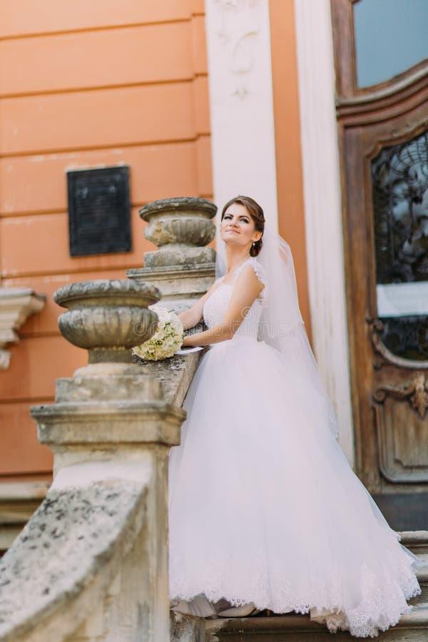 Schöne Braut Im Eleganten Weißen Kleid Mit Dem Langen Schwanz, Der ...
