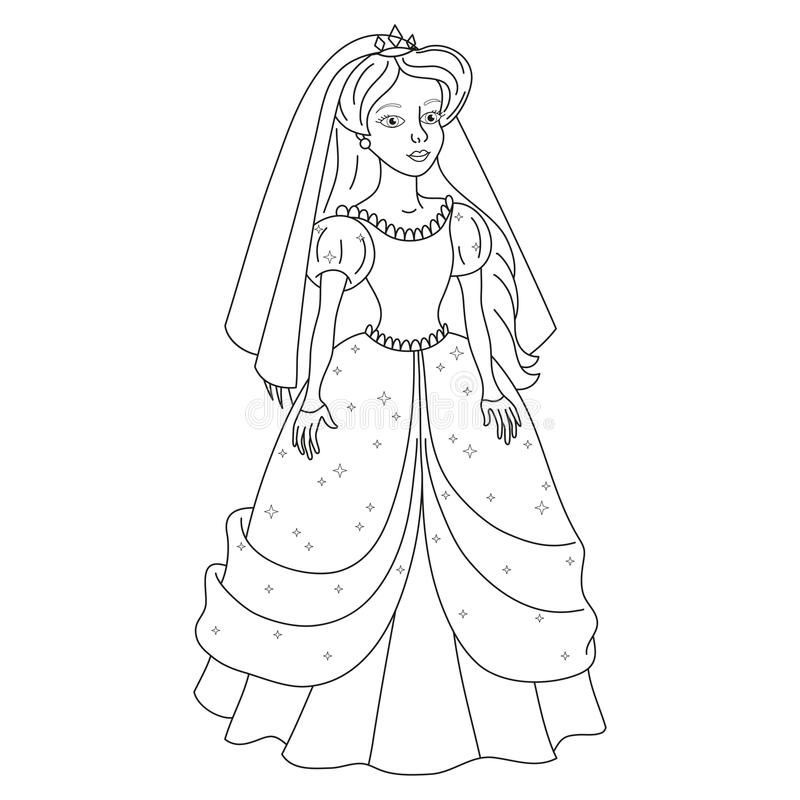 Schöne Braut, leichte Prinzessin im Hochzeitskleid, Malbuchseite stock abbildung