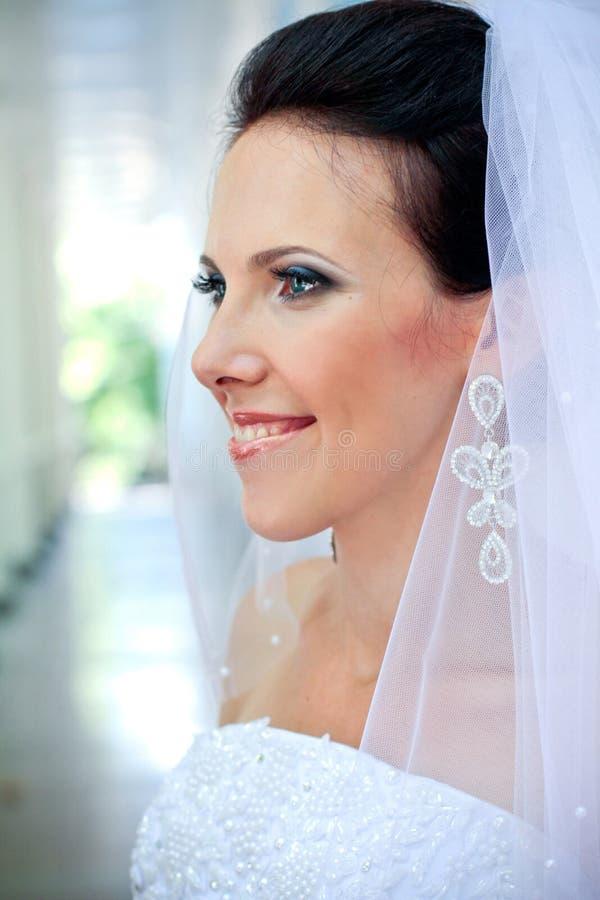 Schöne Braut mit Portrait stockbild