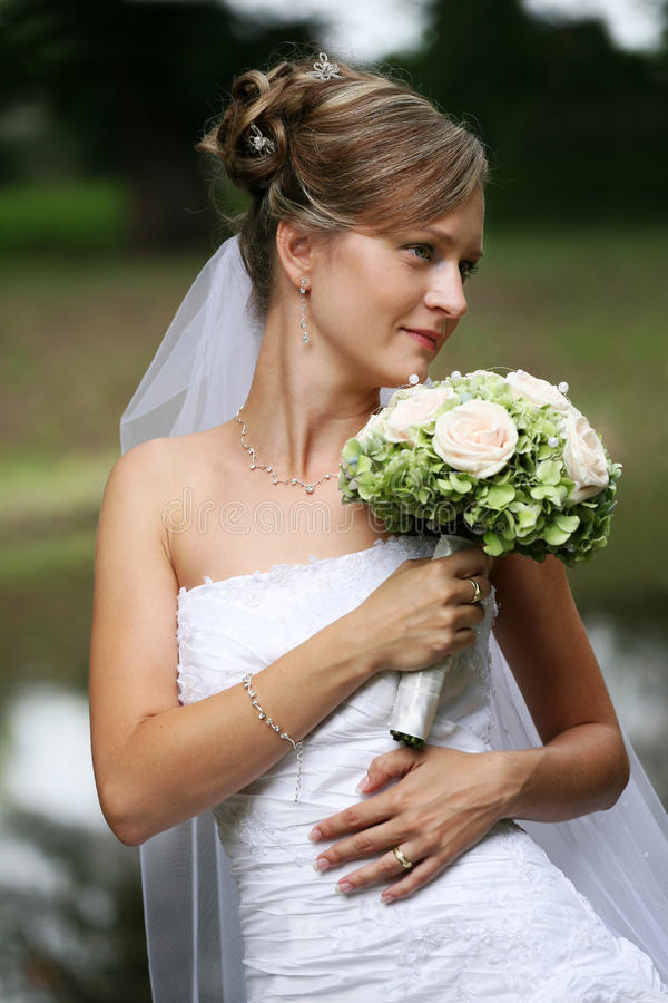 Schöne Braut mit Schleier stockfotografie
