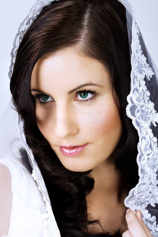 Schöne Braut mit Schleier lizenzfreies stockfoto