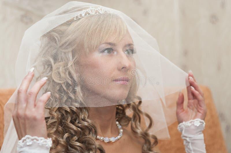 Schöne Braut unter Schleier stockbild