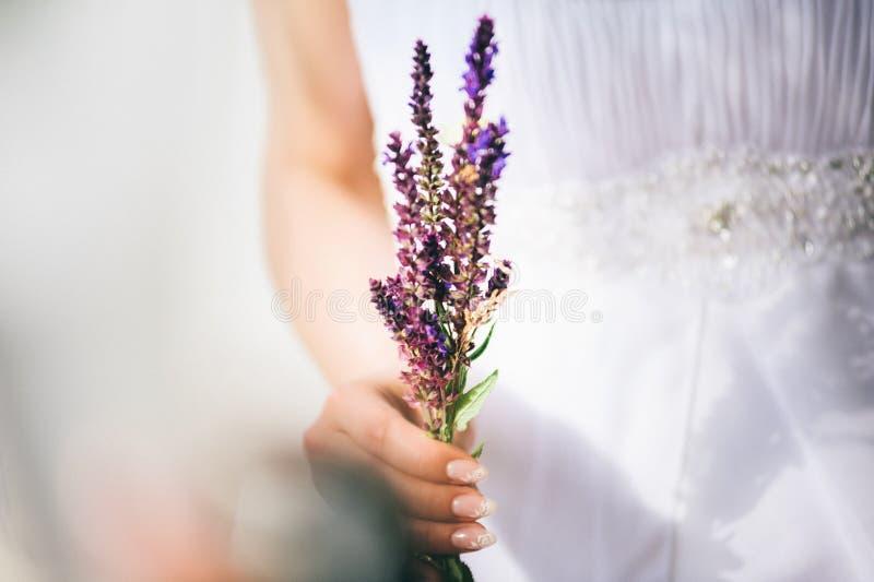 Schöne Brautholding-Feldblumen stockfotografie