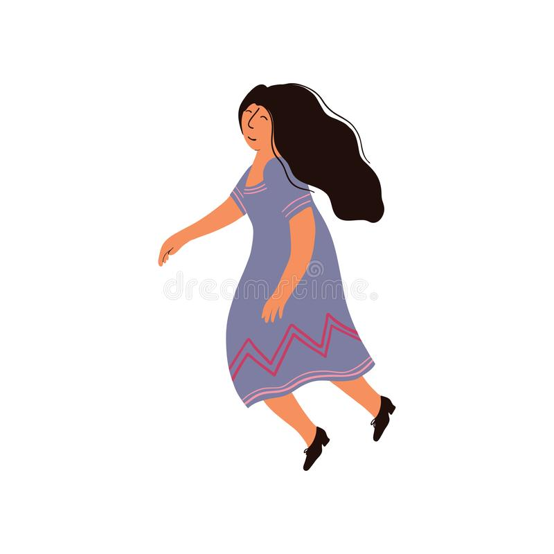 Schöne Brunette Frau mit dem langen Haar, das purpurrote Kleidervektor-Illustration trägt stock abbildung