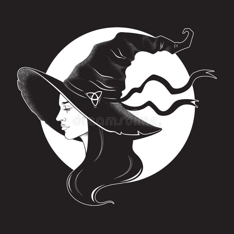 Schöne brunette Hexe in der spitzen Hutlinie Kunst und in der Punktarbeit Tätowierungs-, Plakat-, Tapisserie- oder Altarschleierd stock abbildung