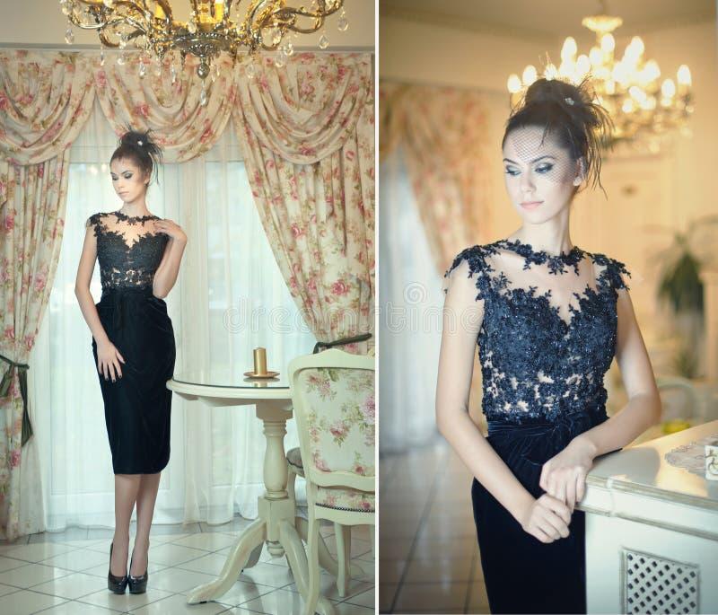 Schöne Brunettedame im eleganten schwarzen Spitzekleid, das in einer Weinleseszene aufwirft Junge sinnliche moderne Frau auf hohe stockbild