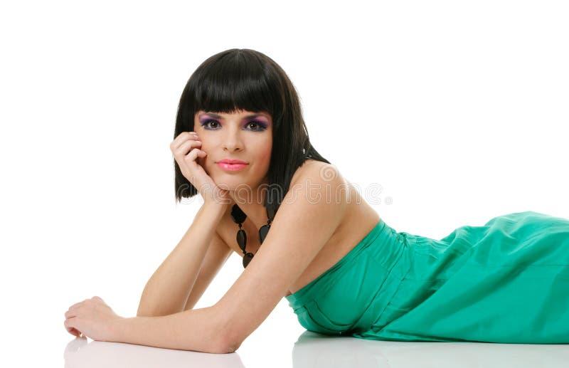 Schöne Brunettefrau lizenzfreies stockfoto