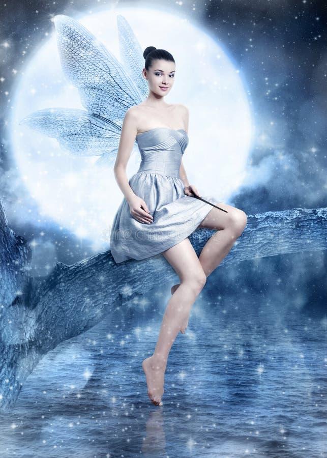 Schöne Brunettefrau als silberne Nachtfee lizenzfreies stockfoto