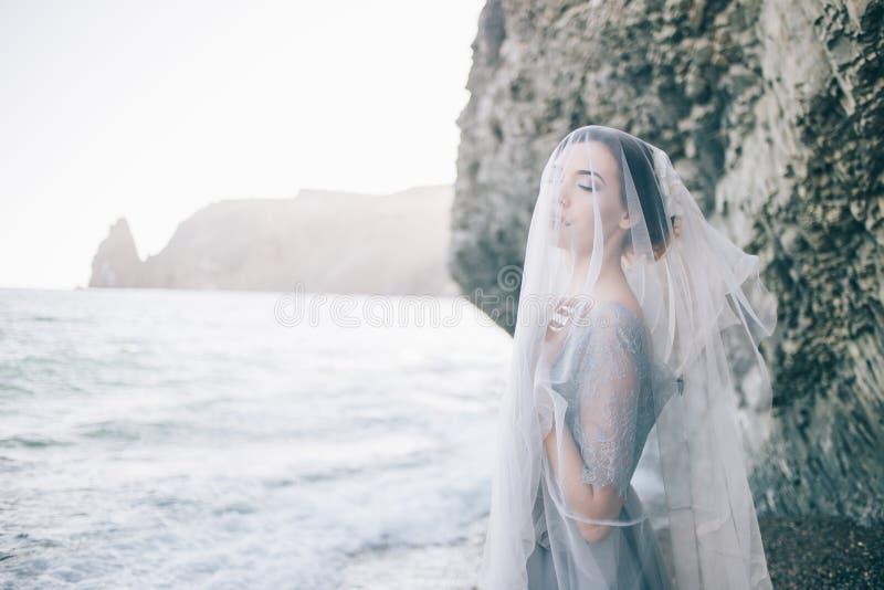 Schöne Brunettemädchenbraut in einem grauen Kleid der Spitzes und des Tulles, bedeckt ihrem Gesicht mit einem Schleier, Hand auf  stockfotografie
