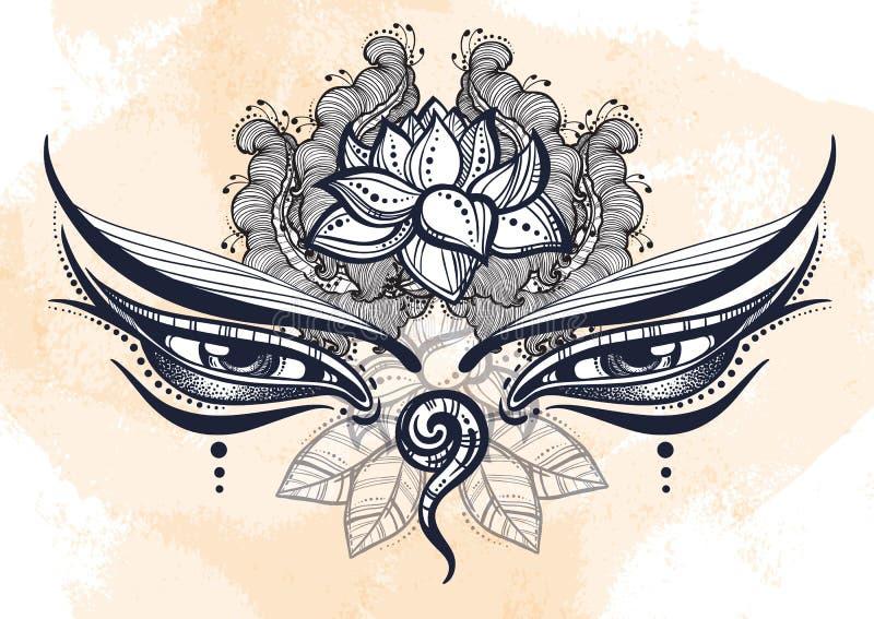 Schöne Buddha-Augen des Nepals aufwändig mit Florenelementen Das Symbol von Klugheit Hoch--detaled Vektorkunst lizenzfreie abbildung