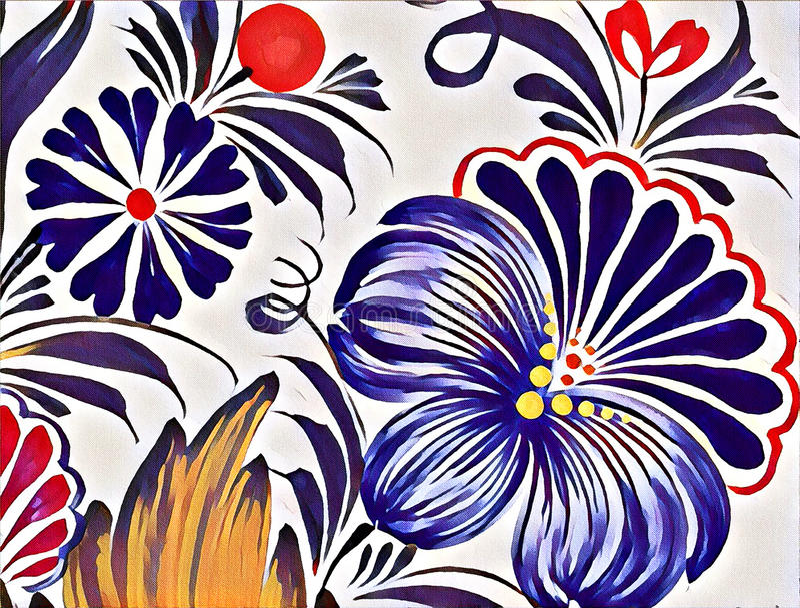 Schöne bunte Malereiblume mit Blättern Traditionelle ukrainische Malerei stock abbildung