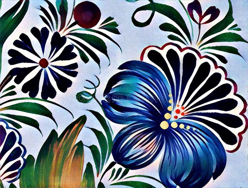 Schöne bunte Malereiblume mit Blättern Traditionelle ukrainische Malerei vektor abbildung