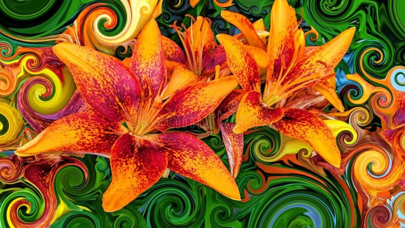 Schöne bunte orange und rote Blüten vektor abbildung