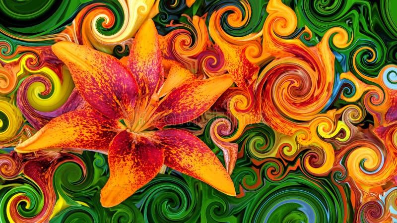 Schöne bunte orange und rote Blüten stock abbildung