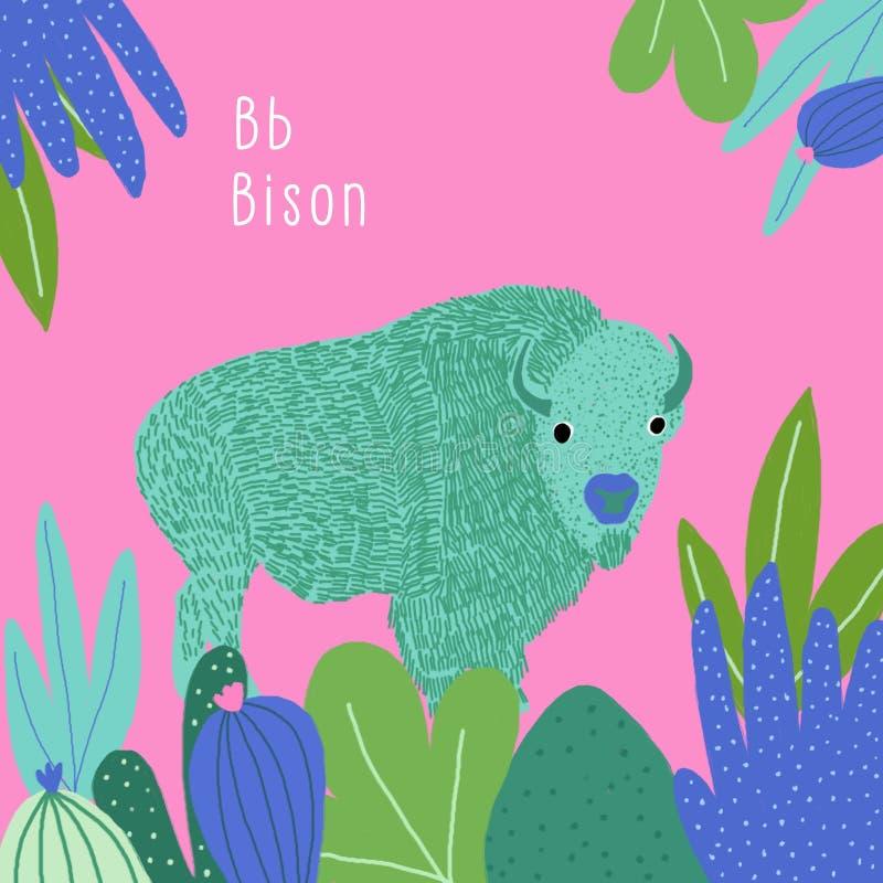 Schöne bunte Zeichnung des Bisons für ein Kinderalphabetbuch stock abbildung