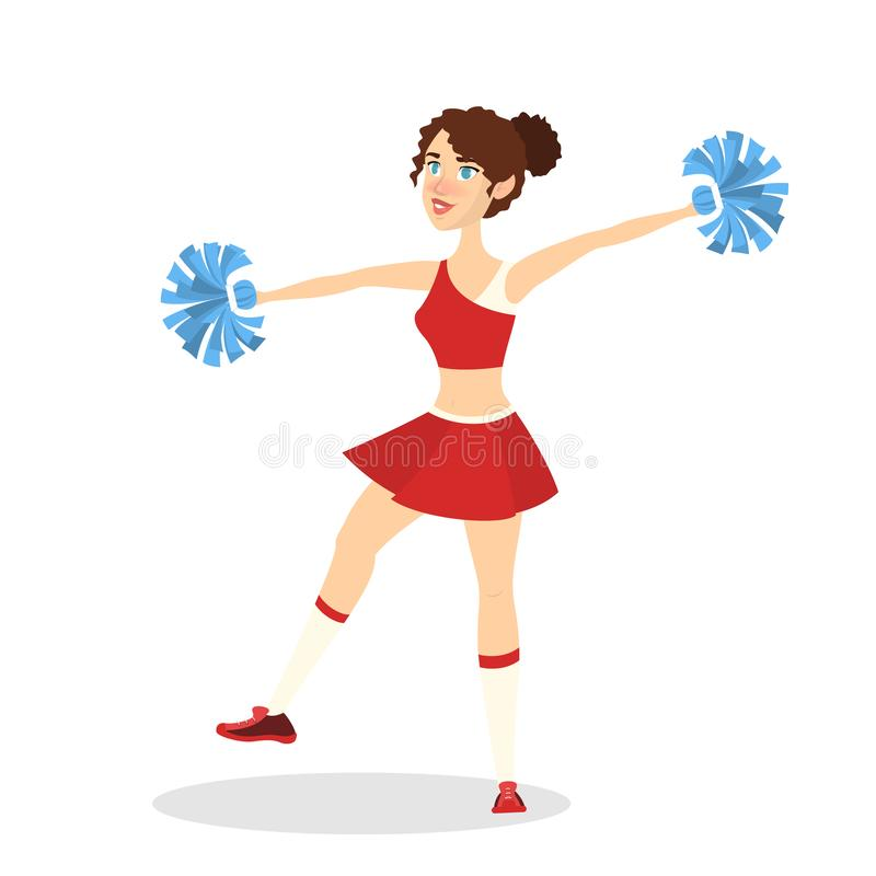 Schöne Cheerleaderstellung in einheitlichem und im Lächeln vektor abbildung