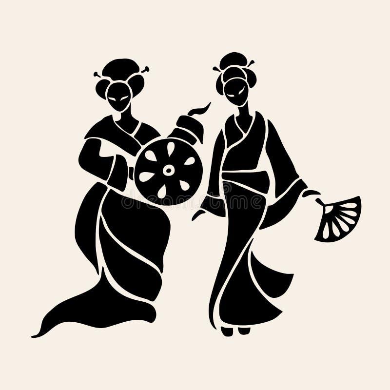 Schöne chinesische Frauen lizenzfreie abbildung