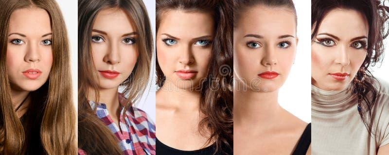 Schöne Collage von hellen Make-upfrauen lizenzfreies stockfoto