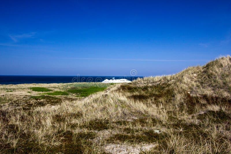Schöne Dünenlandschaft und -long Beach auf der Insel von Amrum a stockbild