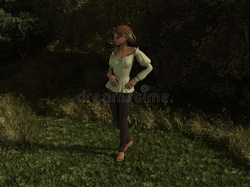 Schöne Dame im Wald stockfoto