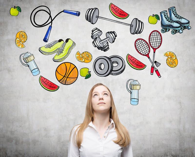 Schöne Dame zu erwägen ist Denken an ihre Wahl der Sporttätigkeit vektor abbildung