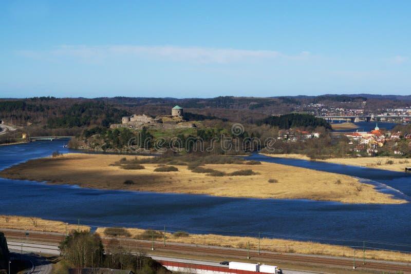 Schöne Delta-Ansicht von Bohus Fortress stockfotografie
