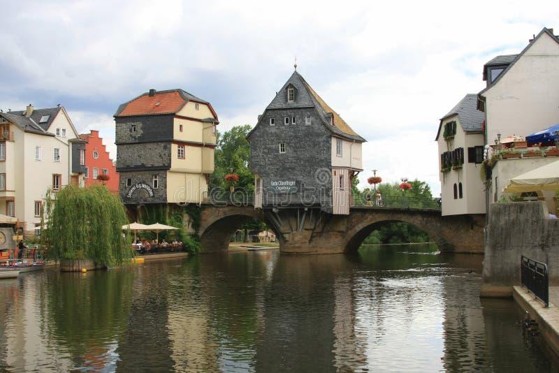 Schöne deutsche Architektur - Brücken-Häuser lizenzfreies stockbild
